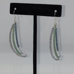 """Swinging Crescent"" Czech Glass Bead Earrings"